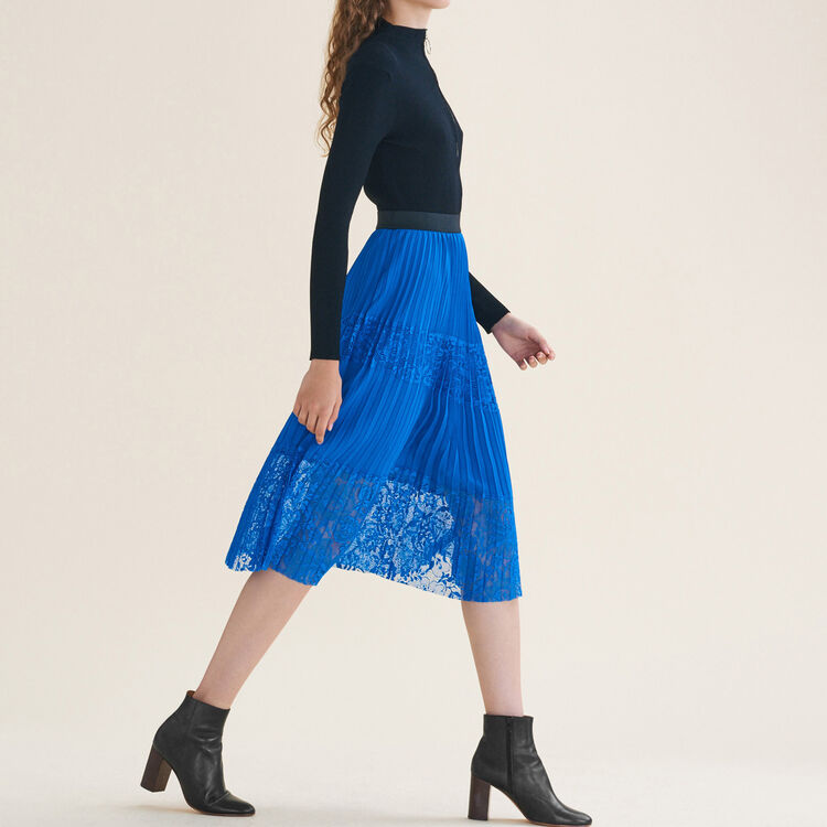 Pleated skirt with lace : null color