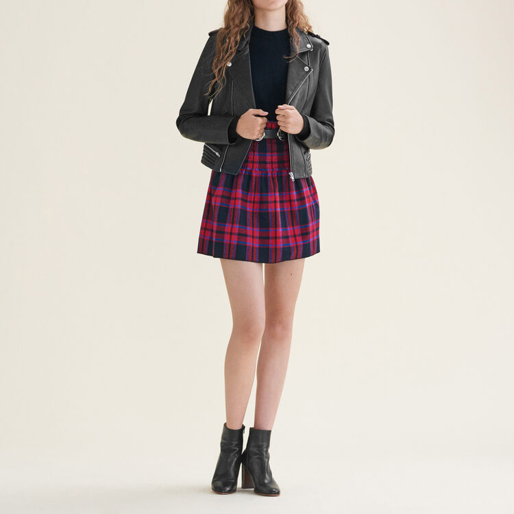 Checked skirt with smocking : Skirts & Shorts color Jacquard