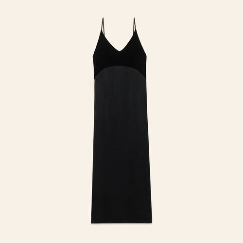 Long dual-material dress - Dresses - MAJE