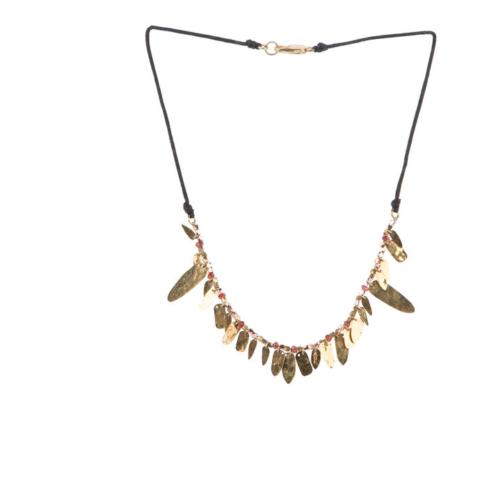 Necklace with beaded and hammered charms : Copy of Sale color