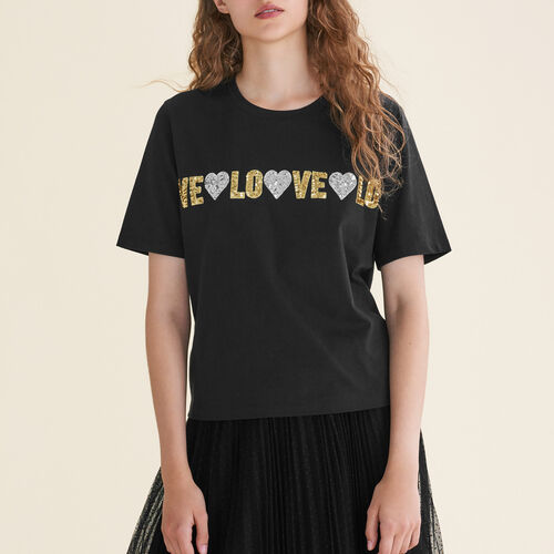 Cotton T-shirt with sequins : Tops & T-Shirts color Black 210