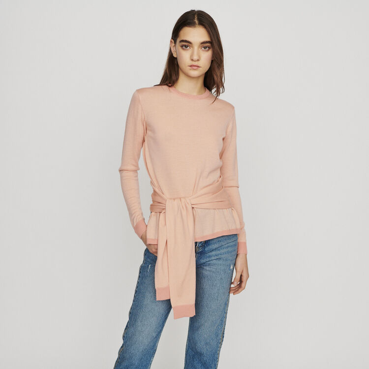 Thin sweater with tie : Sweaters color Coral