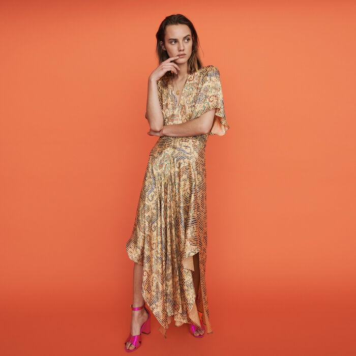 Burn-out-printed scarf smock dress : Dresses color Beige