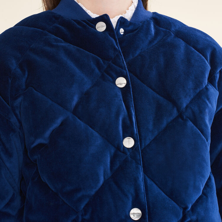 Cropped velvet bomber jacket : Coats & Jackets color Navy