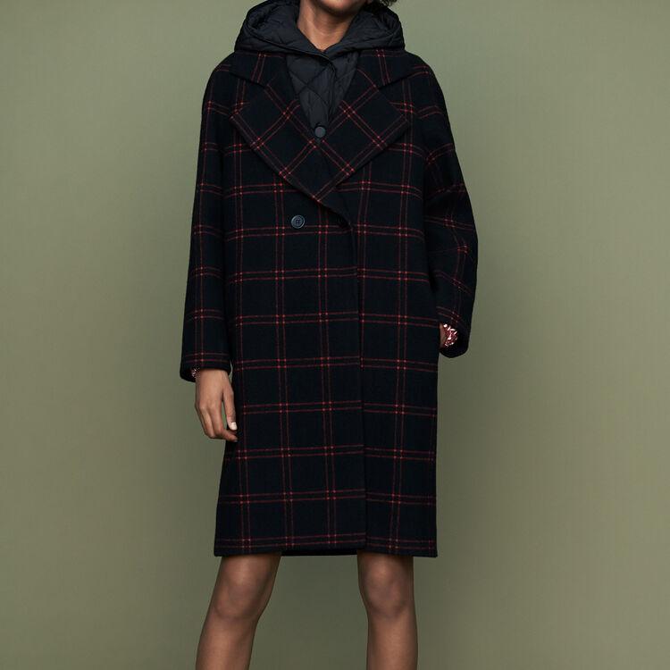 Plaid coat with removable down : Coats & Jackets color CARREAUX