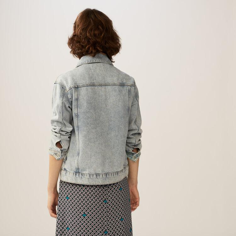 Embroidered denim jacket : Coats & Jackets color Denim