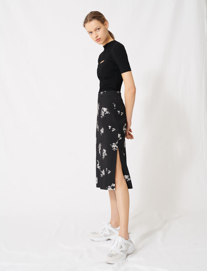Midi skirt in embroidered crêpe - Skirts & Shorts - MAJE