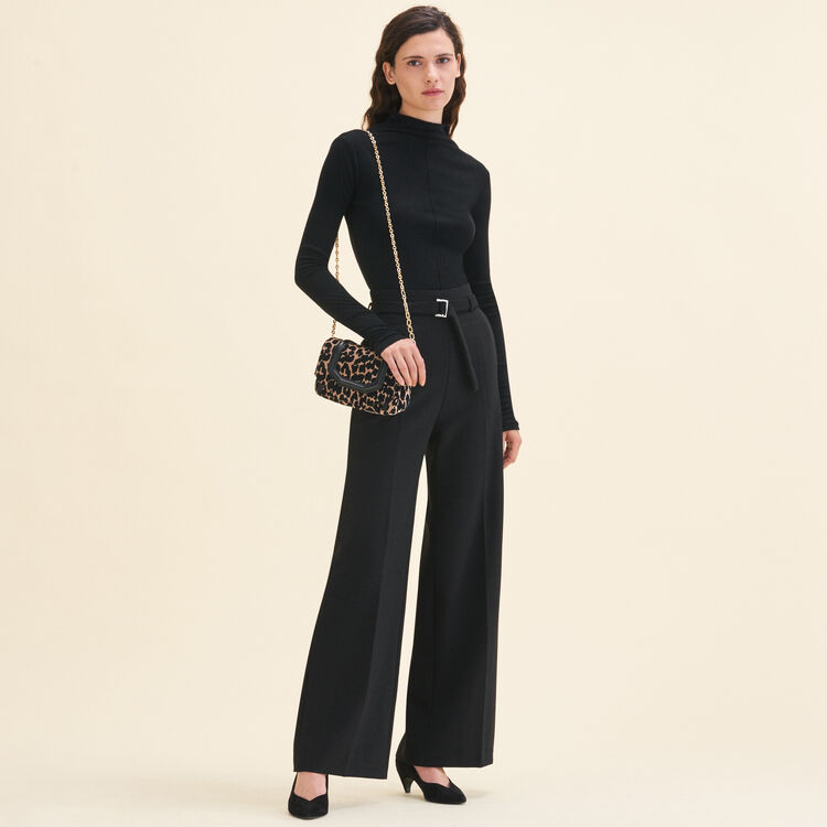Wide leg pants with belt : Pants & Jeans color Black
