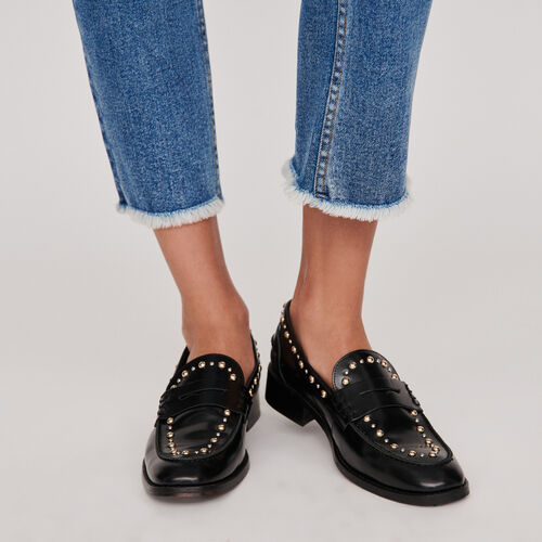 Studded glazed leather moccasins : Shoes color Black