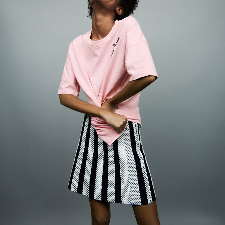 Oversized embroidered t-shirt : Tops & Shirts color Pink