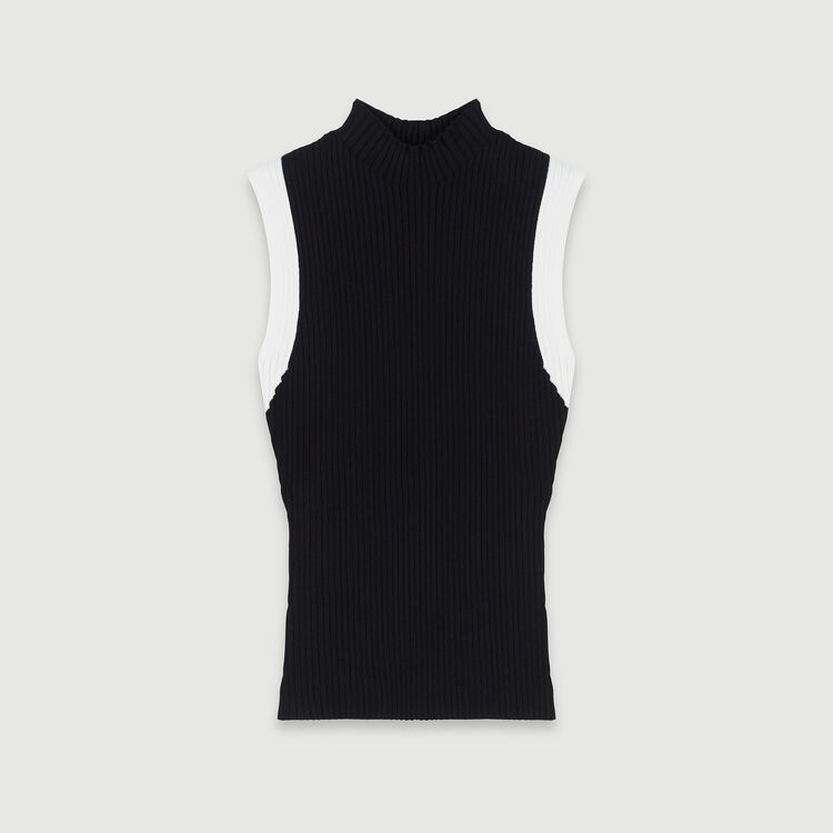 Light sleeveless contrast ribbed sweater : Sweaters color Black