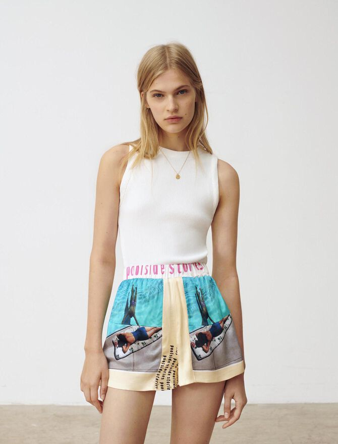 Printed satin sports shorts - Skirts & Shorts - MAJE