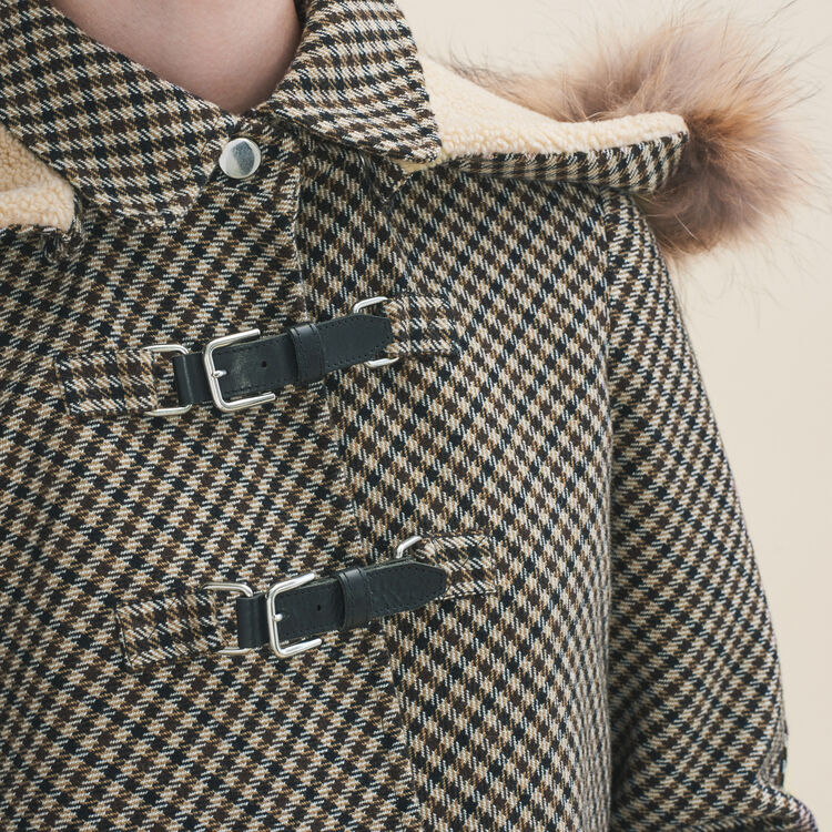 Coat with Prince of Wales-style checks : Coats & Jackets color Jacquard