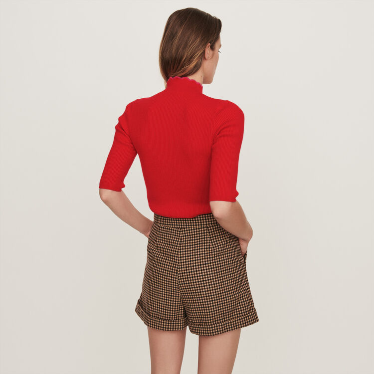 Fancy and zipped light polo sweater : Sweaters color Red