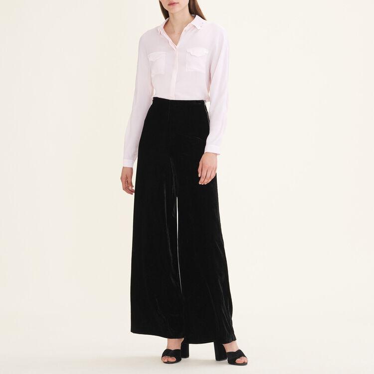 Wide-leg velvet trousers : Pants & Jeans color Black 210