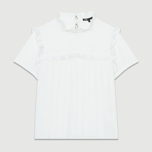 Pleated blouse with ruffles : Tops & Shirts color White