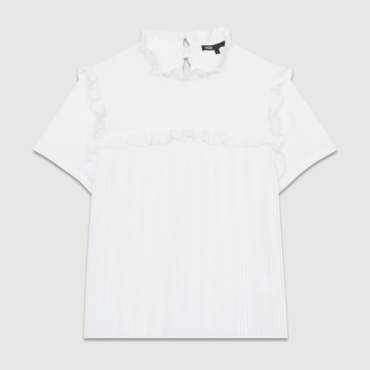 Pleated blouse with ruffles : Tops & T-Shirts color White