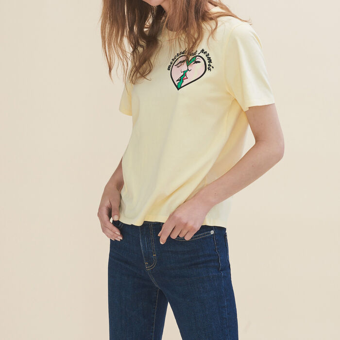 Embroidered T-shirt Wednesday : Tops & T-Shirts color Yellow