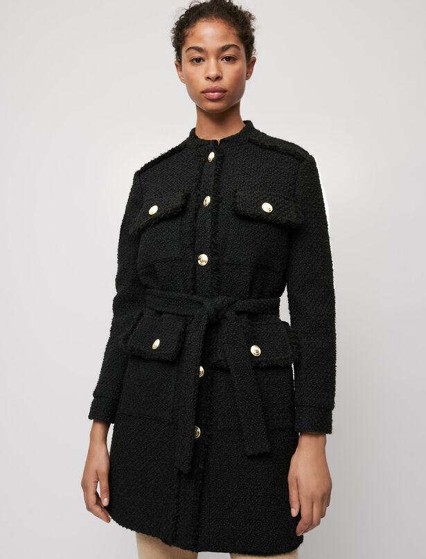 마쥬 MAJE Belted tweed-style coat,Black