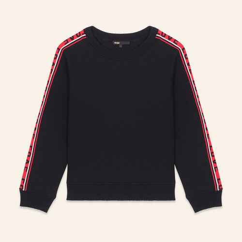 Neoprene sweatshirt with bands : Sweaters color Black 210