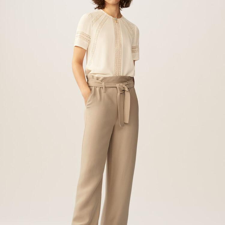 Wide-leg pants with removable belt : Pants & Jeans color Beige