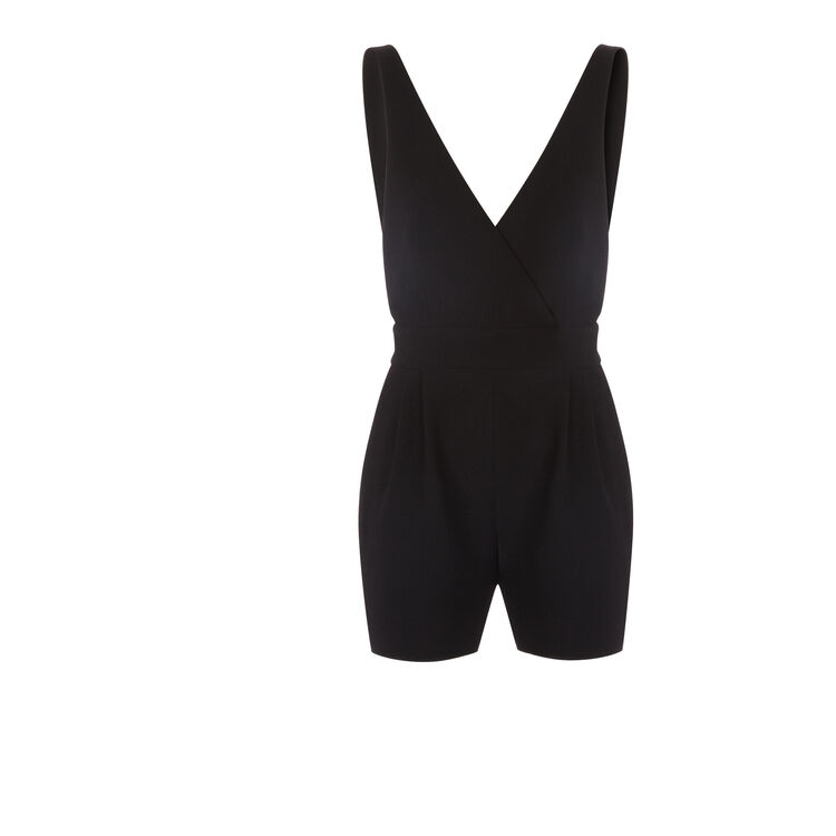 Sleeveless crepe playsuit : null color