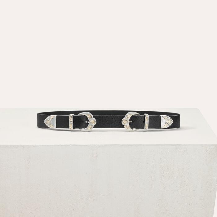 Double scalloped buckle leather belt -  - MAJE