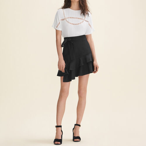 Floaty T-shirt with lace : Tops & T-Shirts color WHITE