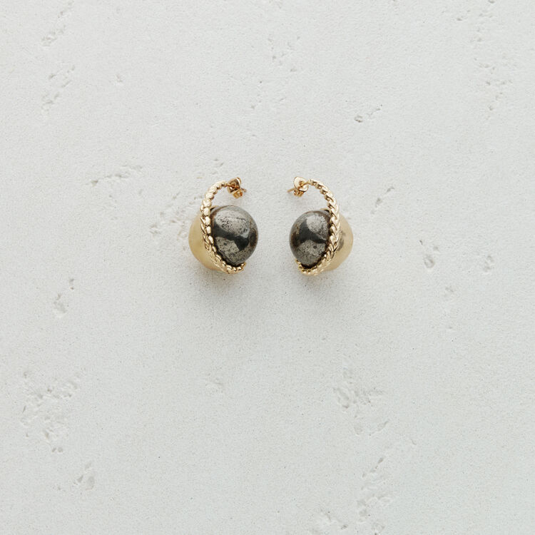 Right earring with natural stone : Jewelry color Old Silver