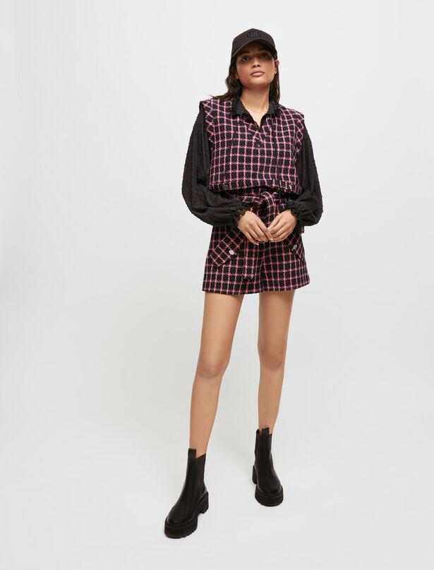 마쥬 체크 민소매 탑 MAJE Checked sleeveless top,Fuchsia