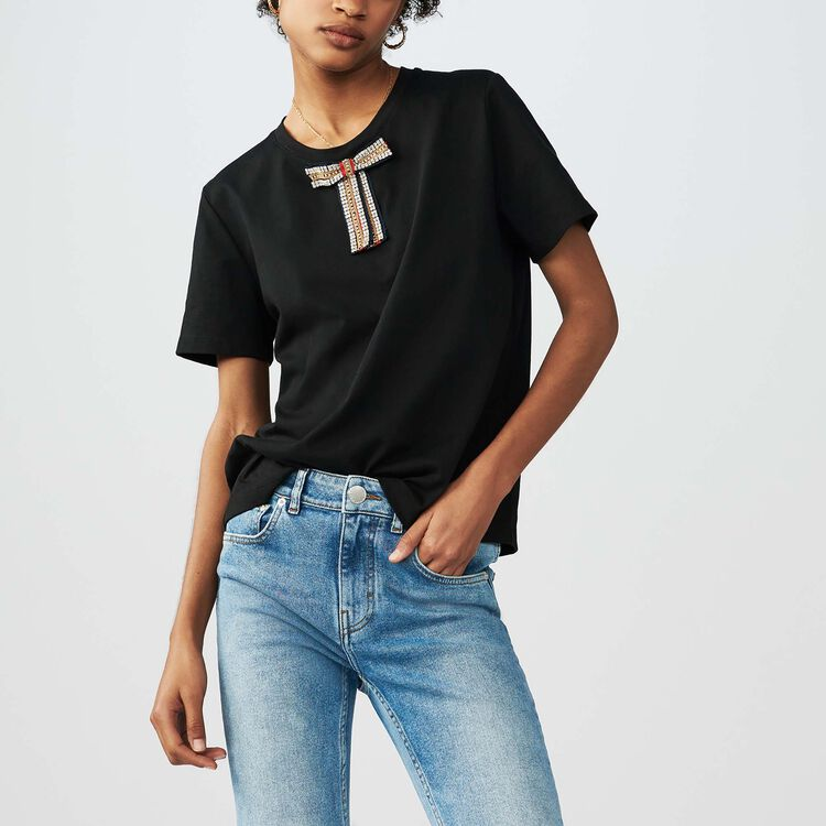 Loose cotton T-shirt with jeweled bow : Tops & Shirts color Black 210