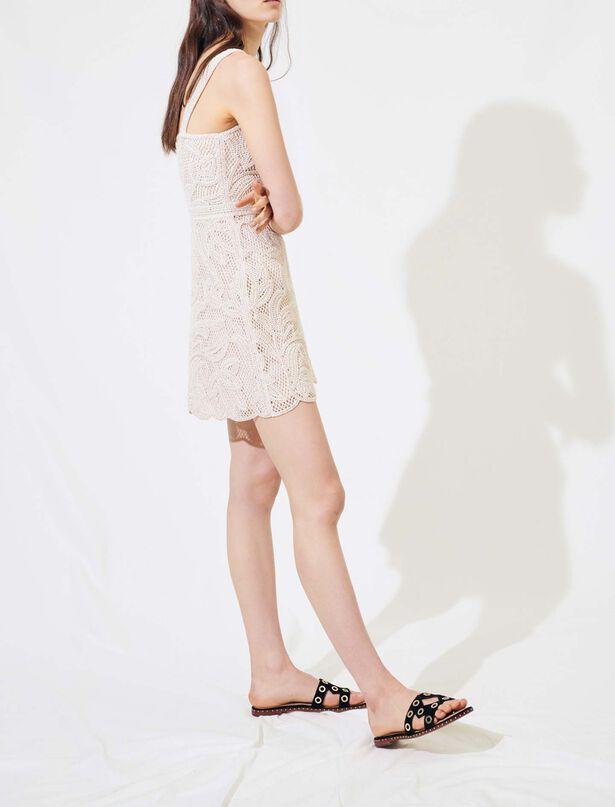 Maje Macrame-style beige dress with straps