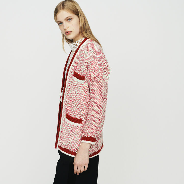 Mid-length cardigan in bicolor wool : Sweaters color Red