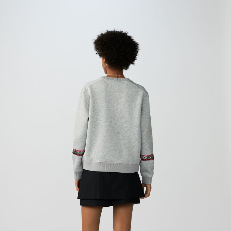 Cotton sweatshirt with sequins : Tops & Shirts color Grey