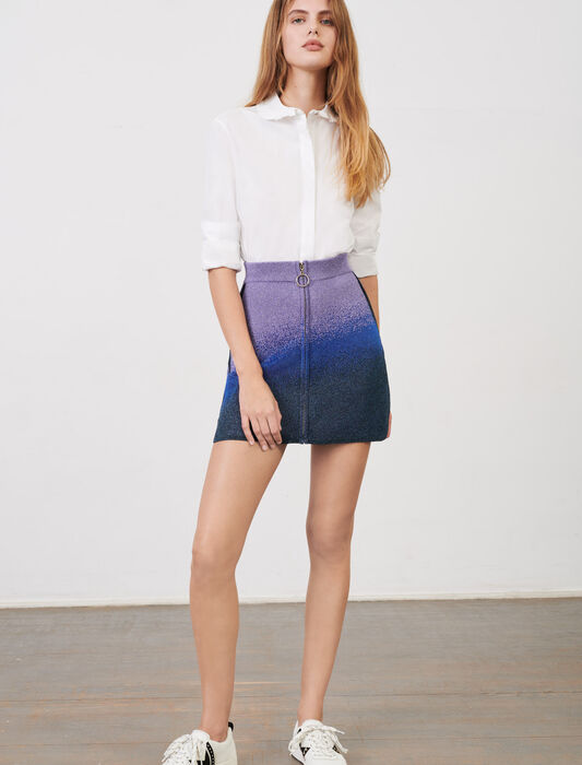Lurex knitted skirt with zip : Skirts & Shorts color Ocean