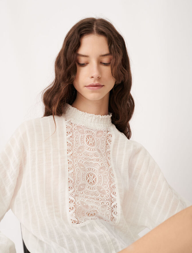 Cotton, lurex and lace top - Tops & T-Shirts - MAJE