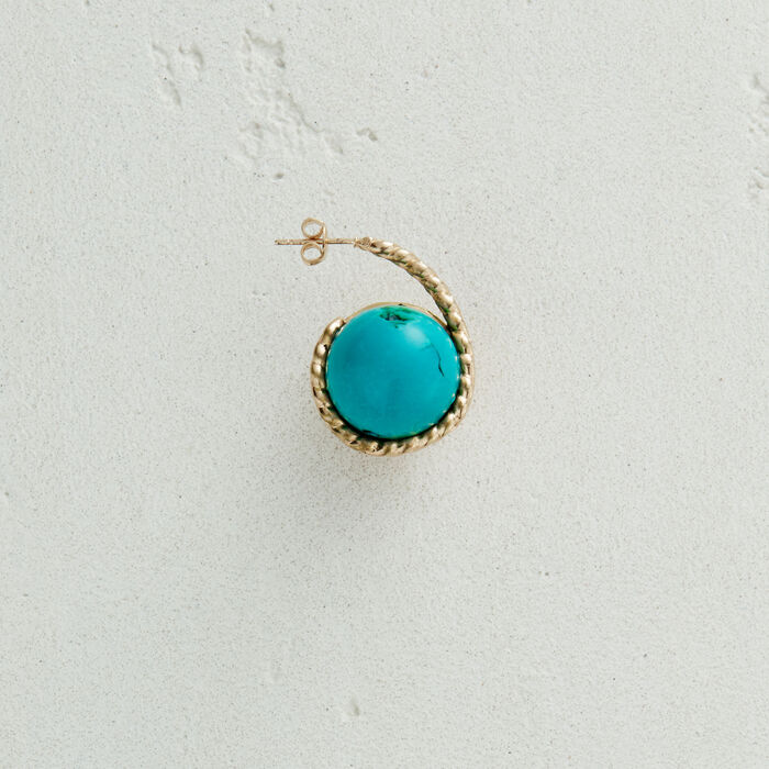 Right earring with natural stone : Jewelry color AZURE BLUE