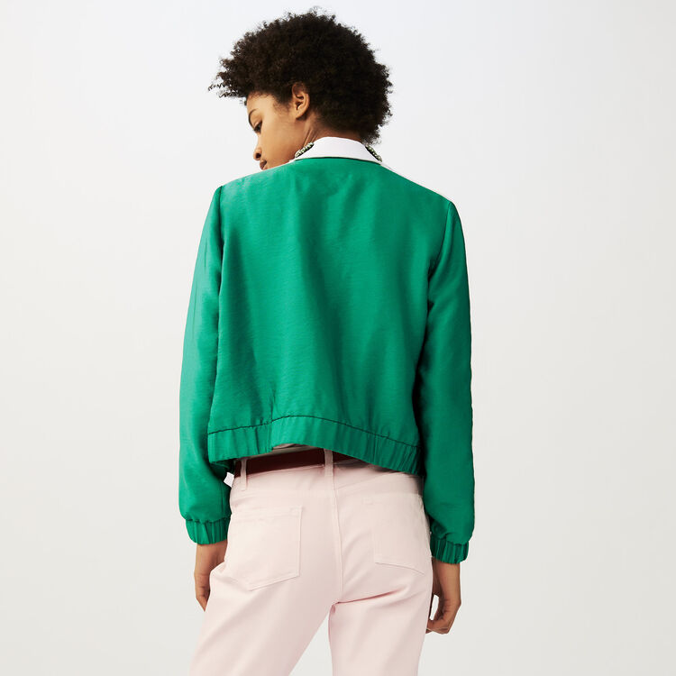 Cropped jacket with bejeweled collar : Coats & Jackets color Green