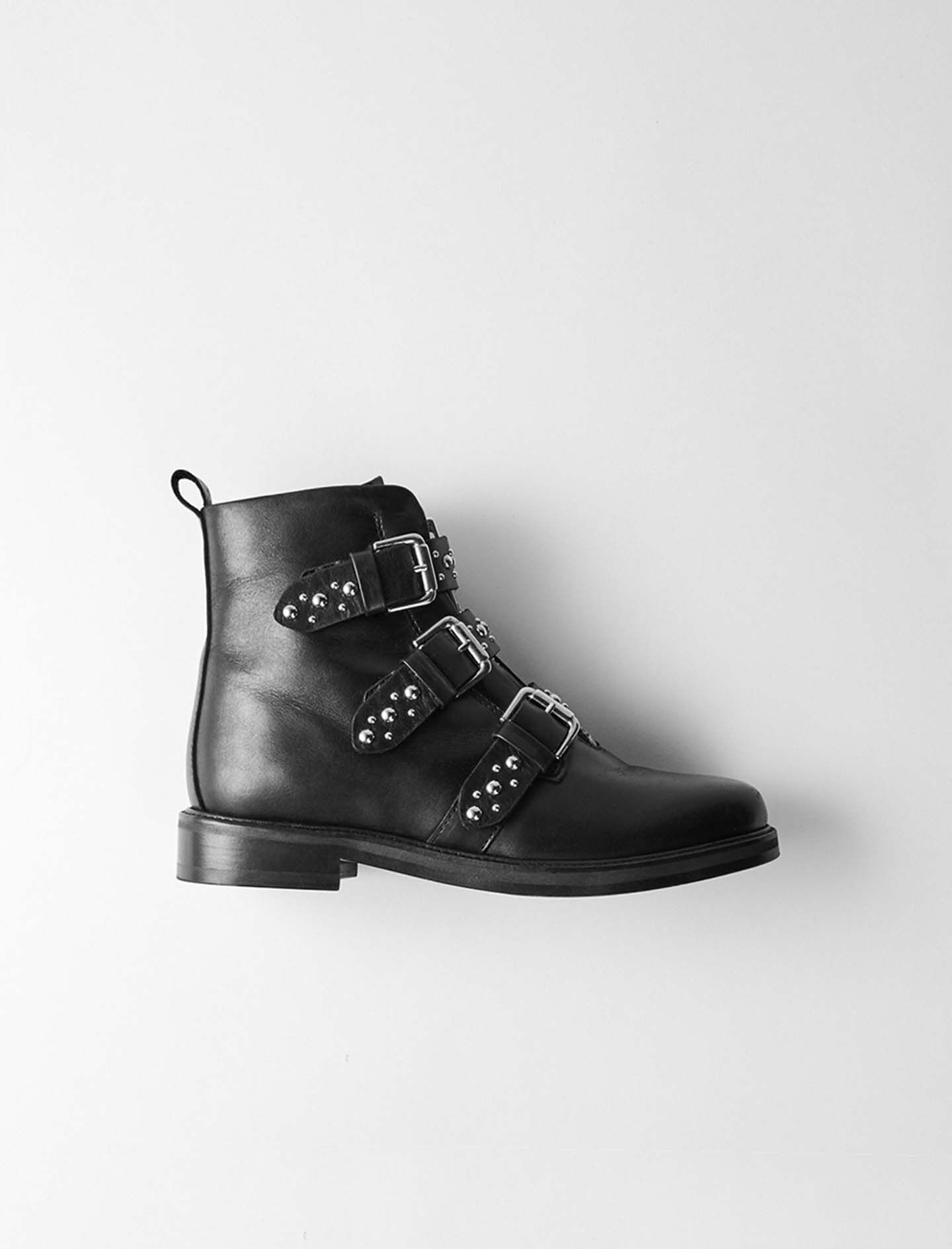 Flat leather studded booties - Shoes