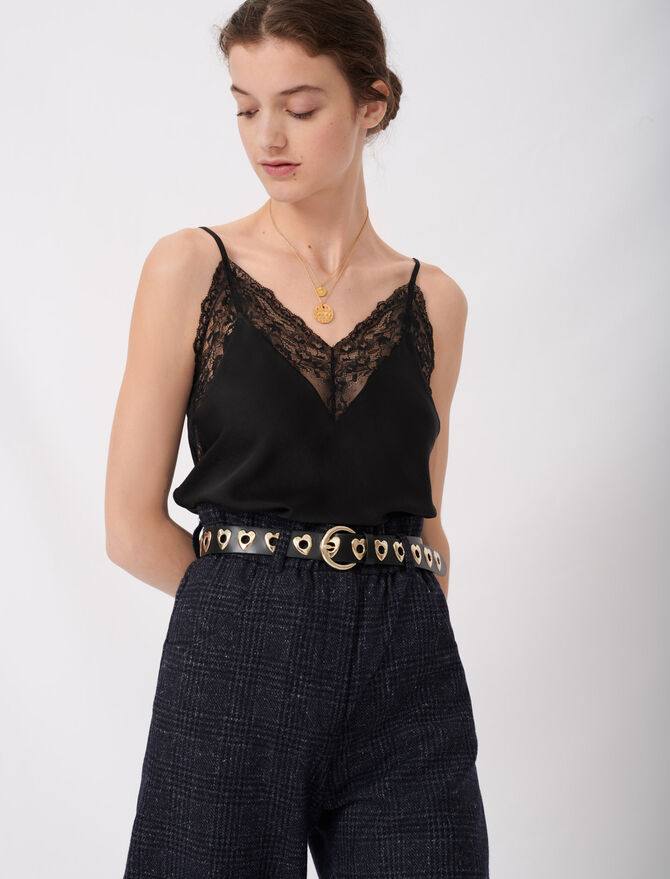 Top with thin straps and lace trim - Tops & T-Shirts - MAJE