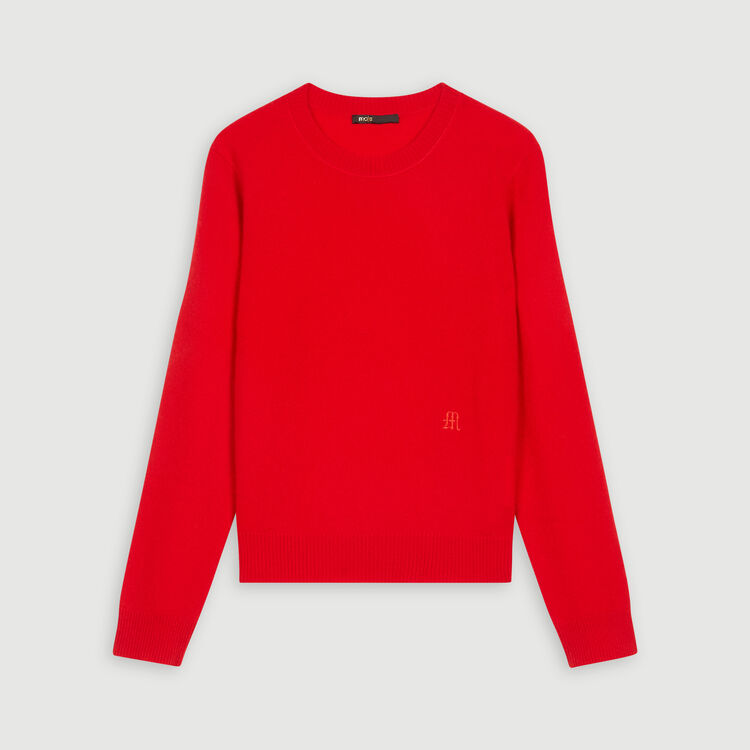 Jewel neck cashmere sweater : Sweaters color Red