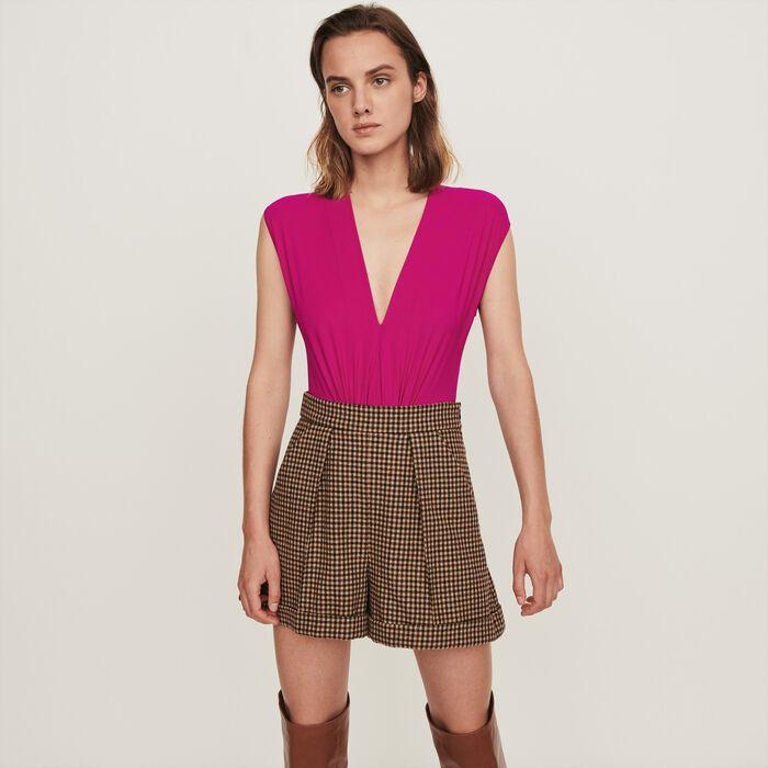 Stretch draped bodysuit : Tops & T-Shirts color Purple