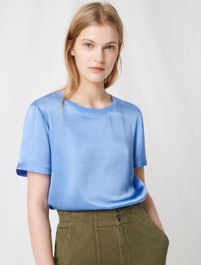 Loose-fitting material-mix T-shirt - T-Shirts - MAJE