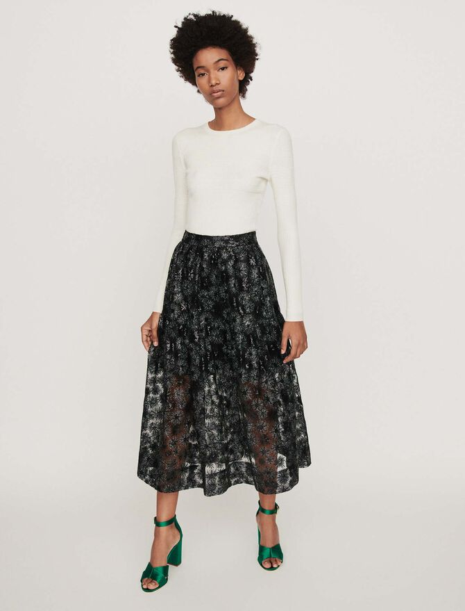 Sequin-embroidered tulle skirt - Skirts & Shorts - MAJE