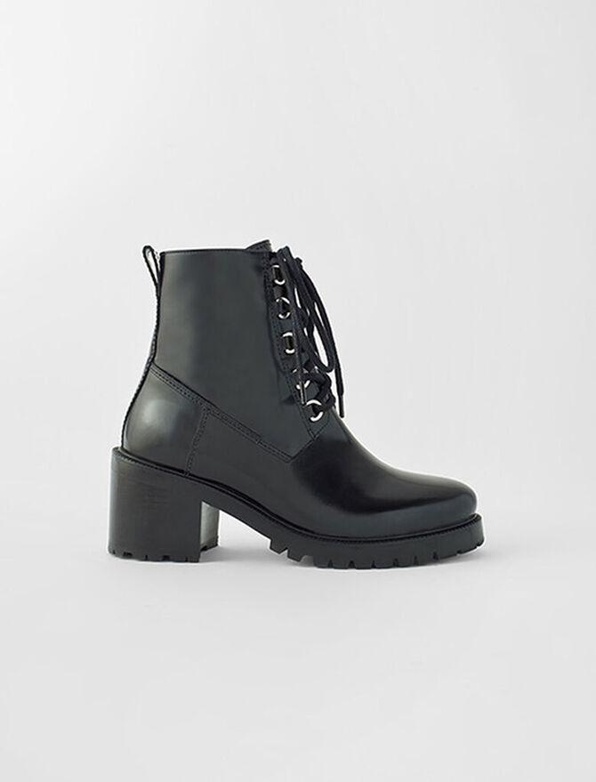 Black leather heeled boots -  - MAJE