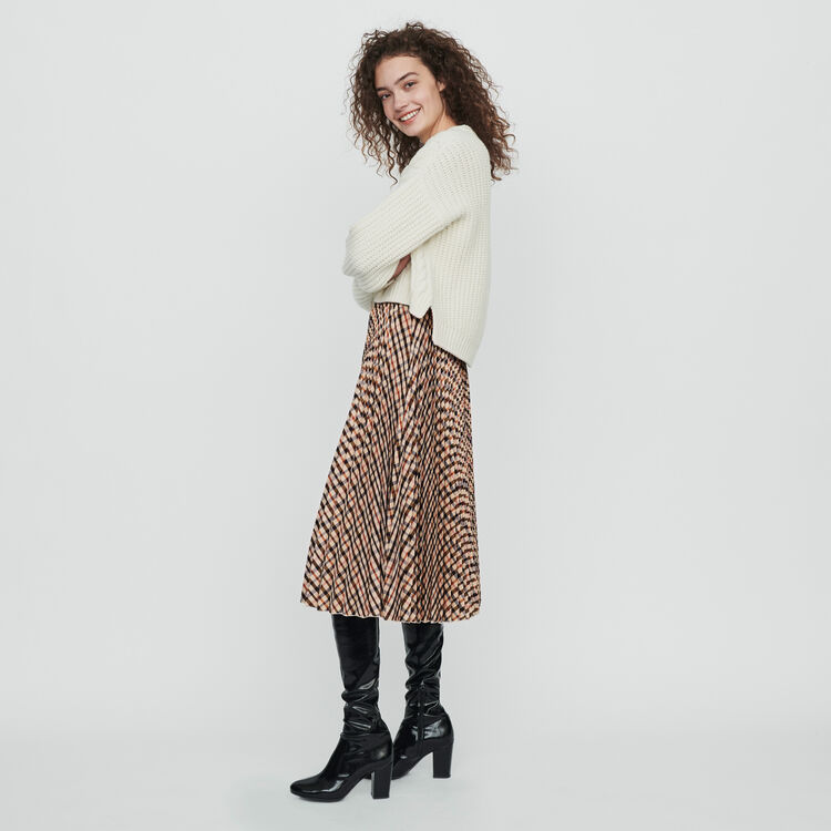 Elasticated pleated plaid skirt : Skirts & Shorts color Brown