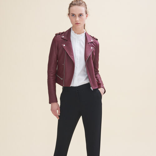 Leather jacket : Coats & Jackets color Burgundy