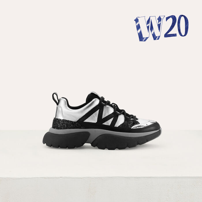 W20 Urban leather sneakers : Shoes & Accessories color Silver