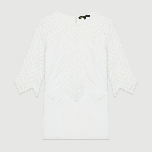 Top in crepe and lace : Tops & T-Shirts color White
