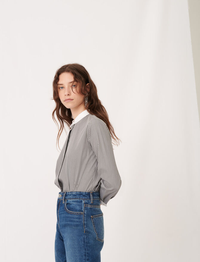Striped poplin shirt with plain details - Tops & T-Shirts - MAJE